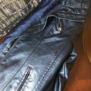 Jackets & Blazers - Dark Blue Leather Jacket
